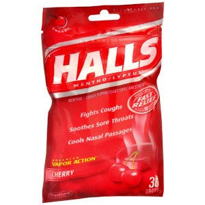 Halls Cough Drops Cherry Flavor 30 Count