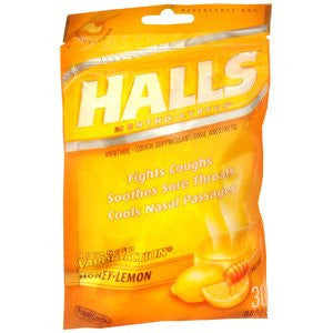 Halls Cough Drops Honey Lemon Flavor 30 Count