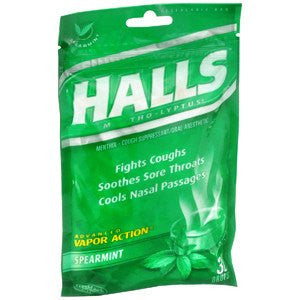 Halls Cough Drops Spearmint Flavor 30 Count