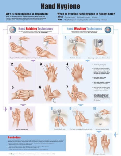 Hand Washing Hygiene Instruction Poster