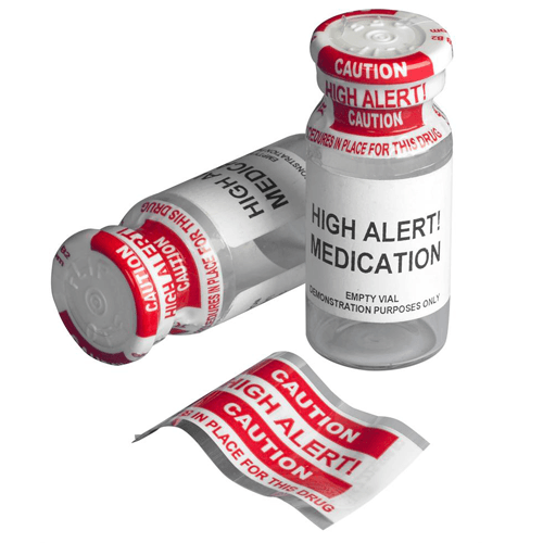 Caution High Alert Vial Shrink Wrap Plastic Bands, 250/Pk
