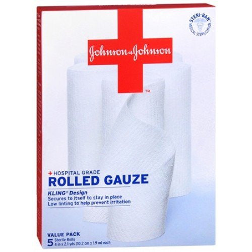 "Kling Gauze Rolled Bandages 4"" x 2 Yards, 5/Box"