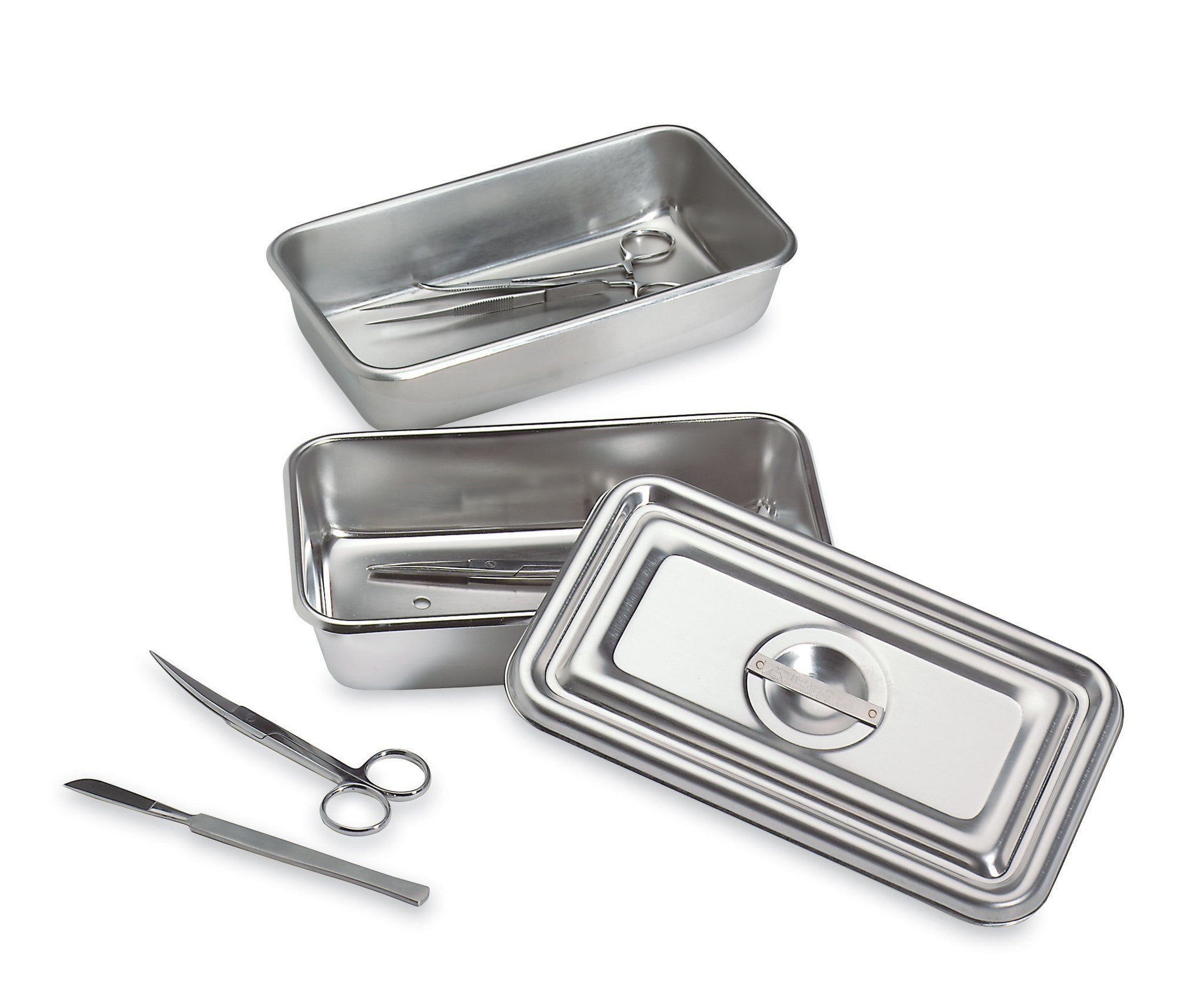 Stainless Steel Instrument Tray with Lid for Surgical Instruments by Tech-Med Services | Medical Supplies