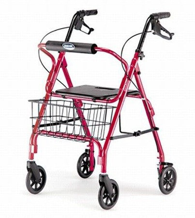 Invacare Adult Rollator with Locking Hand Brakes, Red