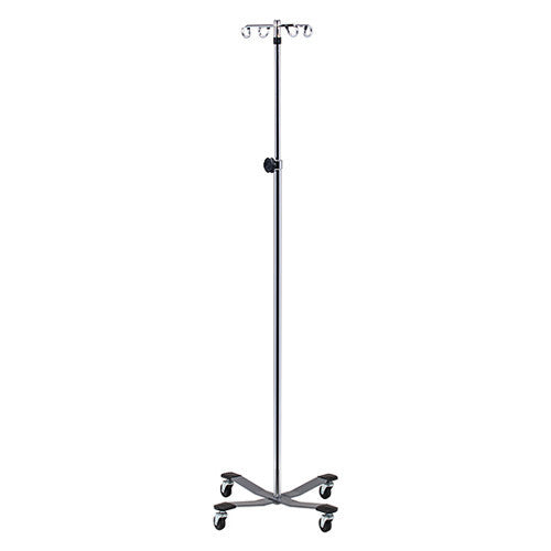 Stainless Steel IV Pole with Heavy Base, 4-Hooks
