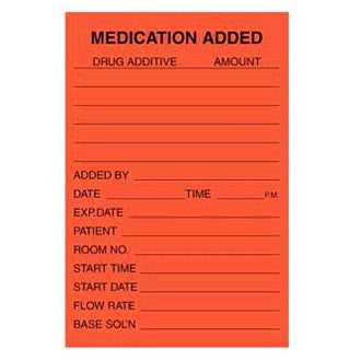 Medication Added IV Labels 500/Roll for IV & Irrigation by Mountainside Medical Equipment | Medical Supplies