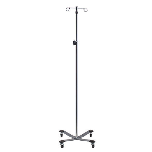 Economy Stainless Steel IV Pole with Heavy Base 2-Hooks