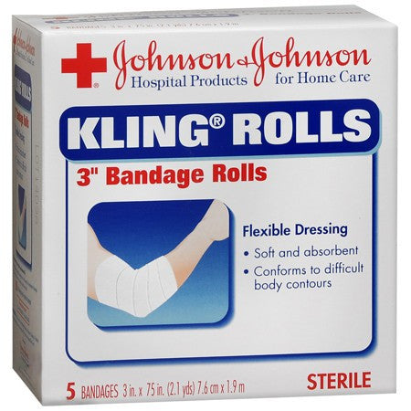 "Buy Kling 3"" Gauze Roll Bandages 5/Box online used to treat Compression Bandages - Medical Conditions"