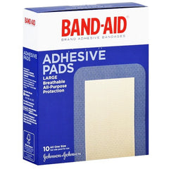 "Buy Band-Aid Adhesive Pads, 2 7/8"" X 4"" Large 10/Box online used to treat Gauze Pads - Medical Conditions"