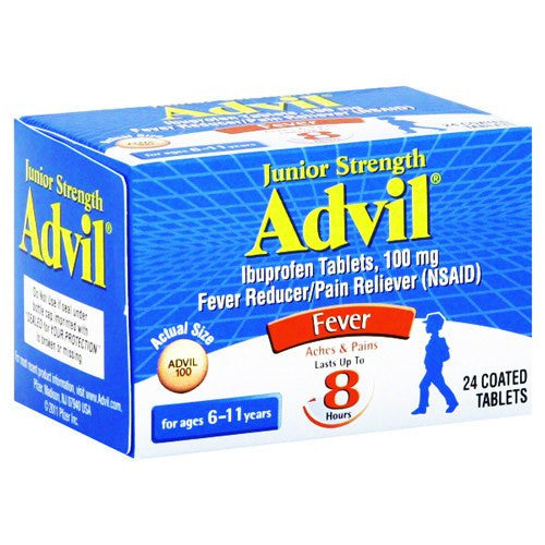 Buy Junior Strength Advil Ibuprofen Tablets, 24 Coated by Wyeth Pfizer wholesale bulk | Cold and Flu