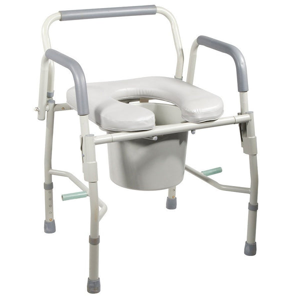 Deluxe Steel Drop Arm Commode with Padded Seat