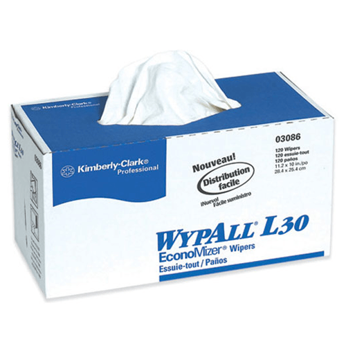 WypAll L30 General Purpose Wipers 120/box x 10/Case, (1200) White