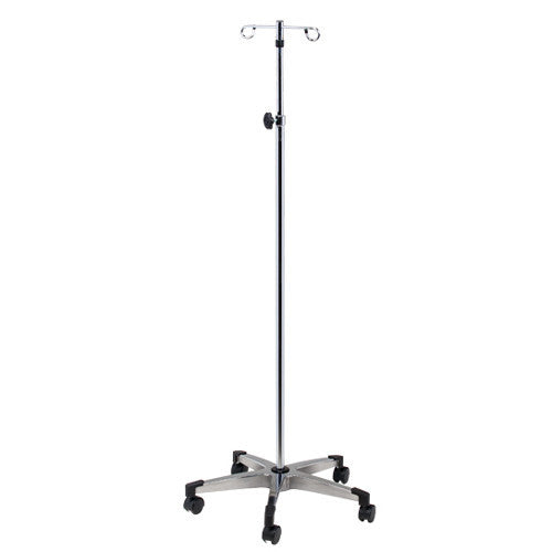 Buy Knob Lock IV Pole with Heavy Base, 5-Legs 2-Hooks online used to treat IV Stands and Poles - Medical Conditions