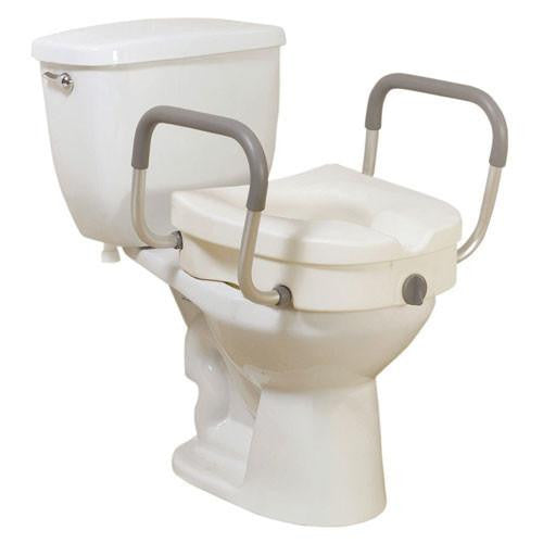 Knock Down Locking Raised Toilet Seat with Tool-Free Removable Arms