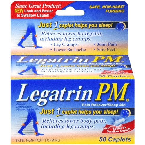 Legatrin PM Pain Reliever & Sleep Aid, 50 Caplets