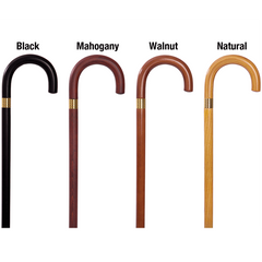 Buy Mahogany Colored Wooden Cane with Curved Handle used for Canes by Essential
