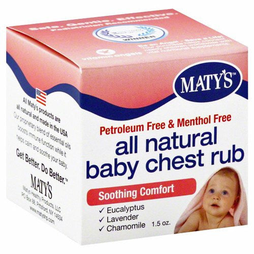 Buy Maty's All Natural Baby Chest Rub 1.5oz online used to treat Cold Medicine - Medical Conditions