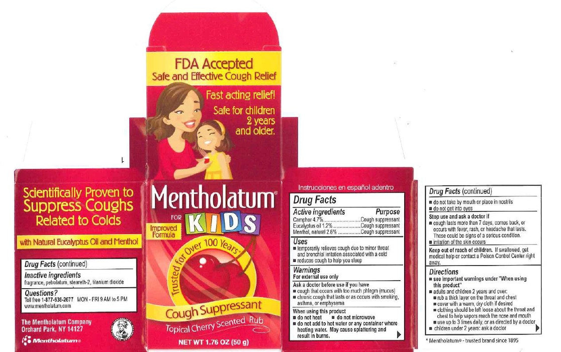 Buy Mentholatum For Kids Topical Cherry Scented Rub 1.76 oz online used to treat Cold Medicine - Medical Conditions