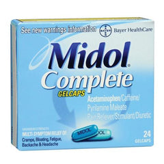 Buy Midol Complete 24 Gelcaps online used to treat Menstruation - Medical Conditions