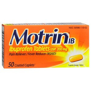 Motrin IB Ibuprofen 200mg Coated Caplets, 50 Count - Pain Relievers - Mountainside Medical Equipment