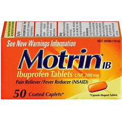 Buy Motrin IB Ibuprofen 200mg Coated Caplets, 50ct by DOT Unilever wholesale bulk | Pain Relievers