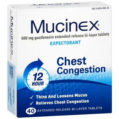 Mucinex Chest Congestion 12-Hour Extended Release Bi-Layer Tablets for Cold Medicine by Reckitt Benckiser | Medical Supplies