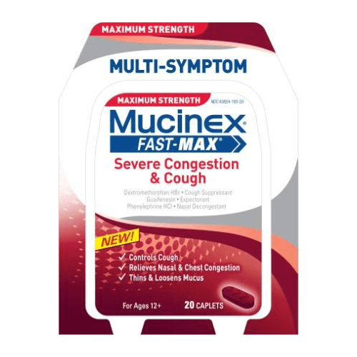 Buy Mucinex Fast-Max Severe Congestion & Cough Caplets used for Cold and Flu by Reckitt Benckiser