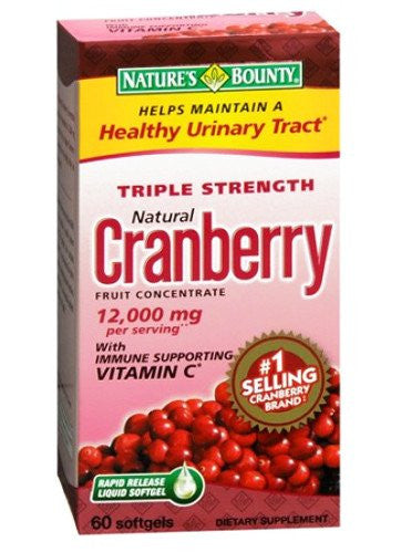 Nature's Bounty Triple Strength Cranberry 60 Softgels for Urinary Tract Infection by Nature