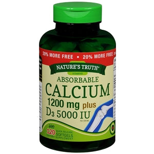 Absorbable Calcium 1200 mg plus 1000 Vitamin D3, 120 Count - Calcium Supplement - Mountainside Medical Equipment