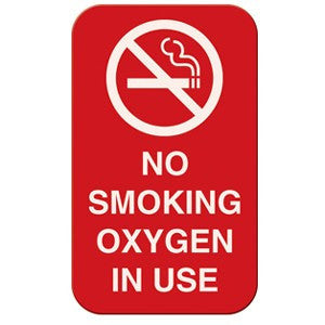 No Smoking Oxygen In Use Magnetic Sign 3 x 5