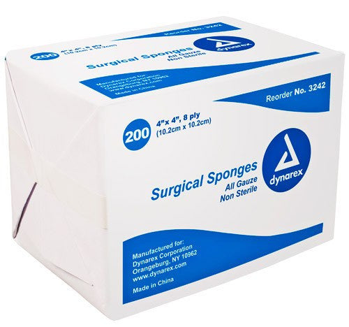Gauze Sponges, Non-Sterile, 8-Ply, 200/Bag