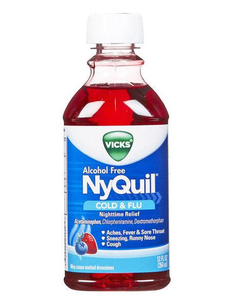 Buy Vicks Nyquil Cold and Flu Nighttime Relief Medicine Alcohol Free 12 oz online used to treat Cold Medicine - Medical Conditions