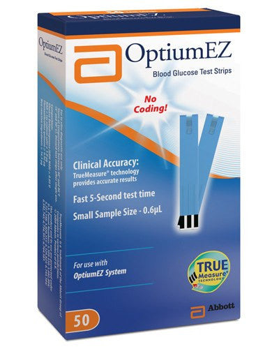 Buy Optium EZ Blood Glucose Test Strips online used to treat Diabetes Supplies - Medical Conditions