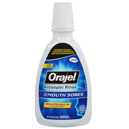 Orajel Antiseptic Mouth Rinse for Mouth Sores 16 oz - Antiseptic Mouth Rinse - Mountainside Medical Equipment