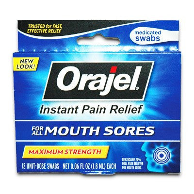 Orajel Medicated Mouth Sore Swabs for Prep Pads and Swabsticks by Church & Dwight | Medical Supplies