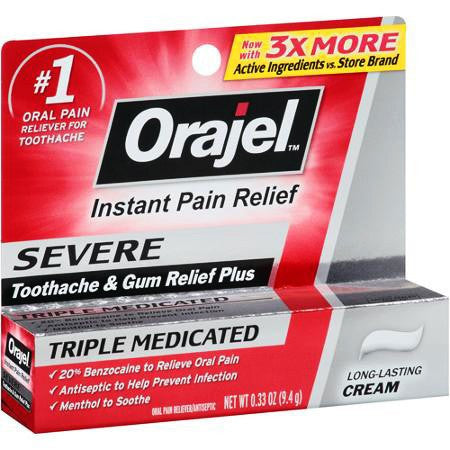 Buy Orajel Severe Toothache & Gum Relief Plus Triple Medicated Cream online used to treat Toothache Pain Relief Gel - Medical Conditions
