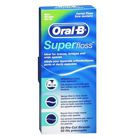 Oral-B Super Floss, 50 Pre-Cut Strands Mint Flavor for Oral Care Products by Procter & Gamble | Medical Supplies
