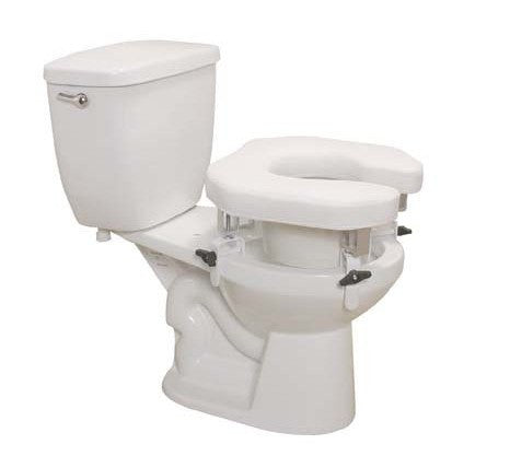 Padded Raised Toilet Seat with Four Locking Brackets