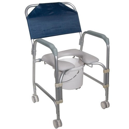 Padded Shower Chair with Commode and Rolling Casters