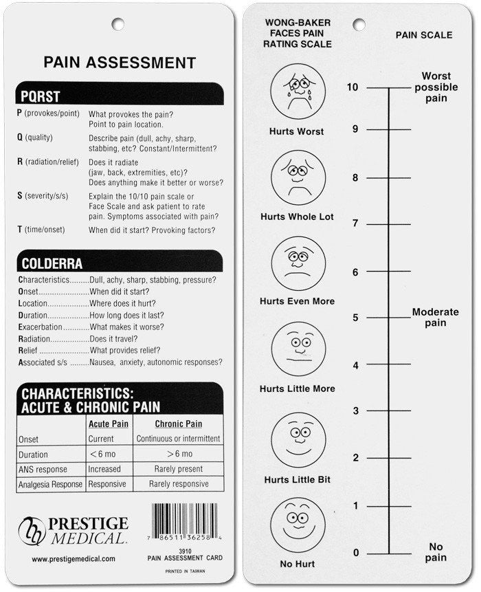 Pain Assessment Card - Pain Assessment - Mountainside Medical Equipment