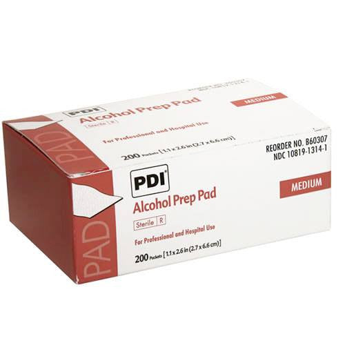 PDI Alcohol Prep Pads, Medium Sterile 200/box - Alcohol Prep Pads - Mountainside Medical Equipment