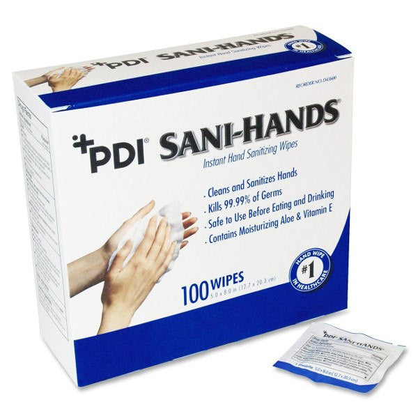 Sani Hands ALC Antimicrobial Gel Hand Wipes 70% Ethyl Alcohol (100 Count) - Disinfecting Supplies - Mountainside Medical Equipment