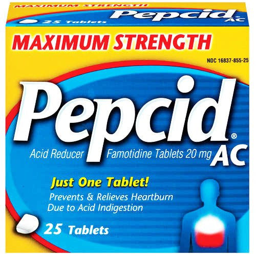 Buy Pepcid AC Maximum Strength Famotidine Tablets 20mg 25/Box used for Heartburn by DOT Unilever