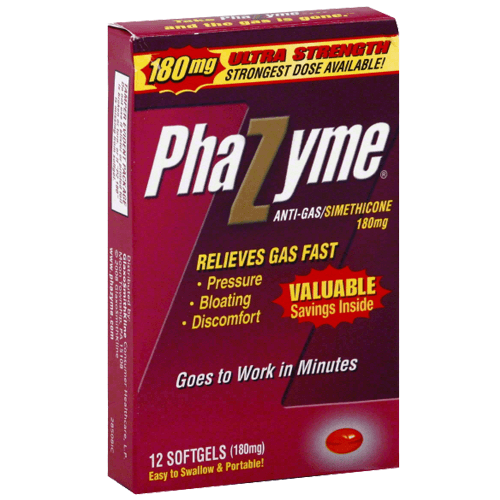 Buy Phazyme Gas Relief Ultra Strength 180mg Softgels online used to treat Gas and Bloating Relief - Medical Conditions