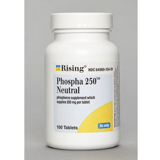 Phospha 250 Neutral Tablets (100 Count) - Urinary Acidifier - Mountainside Medical Equipment