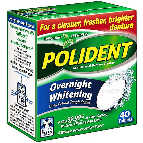 Polident Overnight Whitening Denture Cleanser Tablets