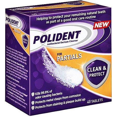Polident Partial Antibacterial Denture Cleanser Tablets
