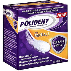 Buy Polident Partial Antibacterial Denture Cleanser Tablets used for Mouth by GlaxoSmithKline