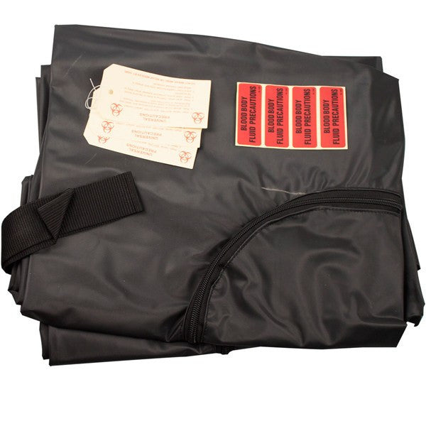 Post Morttem Adult Body Bags, Black, 600 lbs Capacity, 10/Case