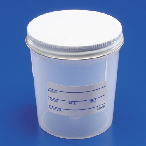 Precision Specimen Containers 7 oz, Metal Screw Cap and ID Label - Urine Specimen Collection - Mountainside Medical Equipment